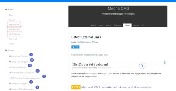 Flatboard Forum und Mecha v2 CMS: externe Links auf noFollow umstellen – wie geht das?