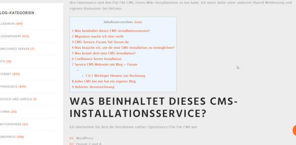 Ich möchte dich an meinen CMS-Installation-Service erinnern