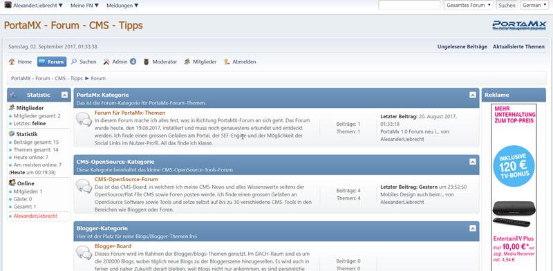 PortaMX-Forum auf Startseite