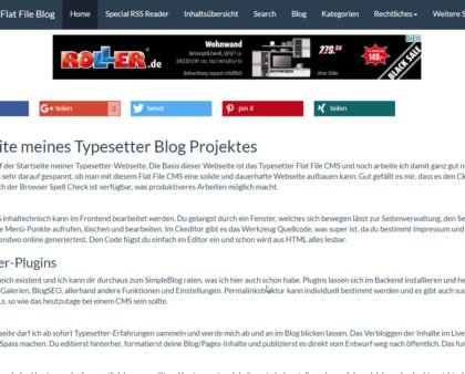 Erste Erfahrungen mit dem Flat File CMS namens Typesetter, ex-Gpeasy