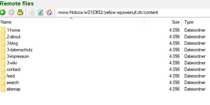 Yellow CMS Verzeichnisse im FTP-Account