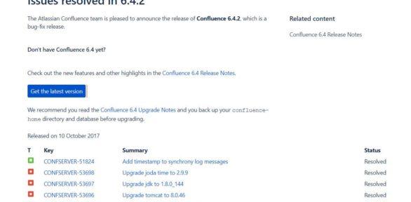 Confluence Server 6.4.2 erschienen: Fehlerbehebungen