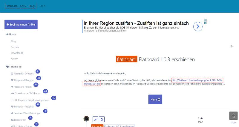 Flatboard Board in der Version v1.0.4 im Frontend