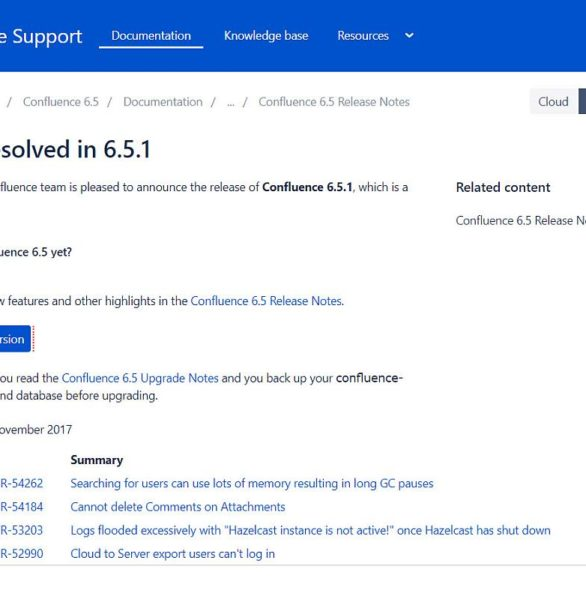 Confluence Server 6.5.1 draussen mit ein paar Fehlerbehebungen