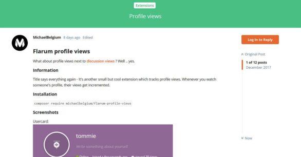 Flarum-Erweiterung Profil-Ansichten – ProfileViews installieren
