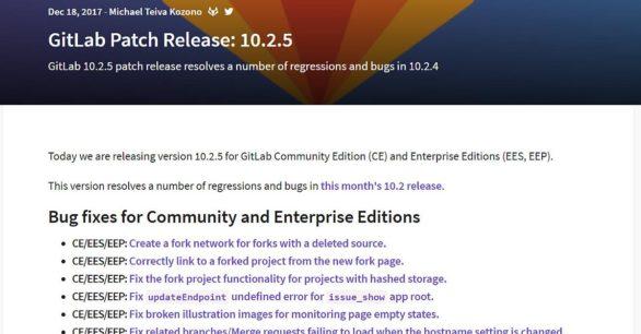 Gitlab Server 10.2.5 mit Fehlerbehebungen und Performance Verbesserungen