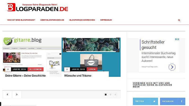 Blogparaden.de auf Startseite