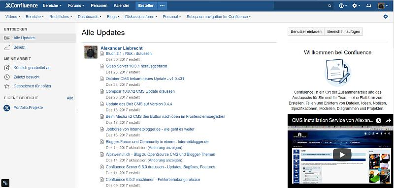 Confluence 6.6.0 im Browser im Frontend