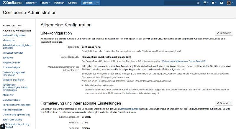 Confluence App Backend: Einstellungen wie Base URL etc.