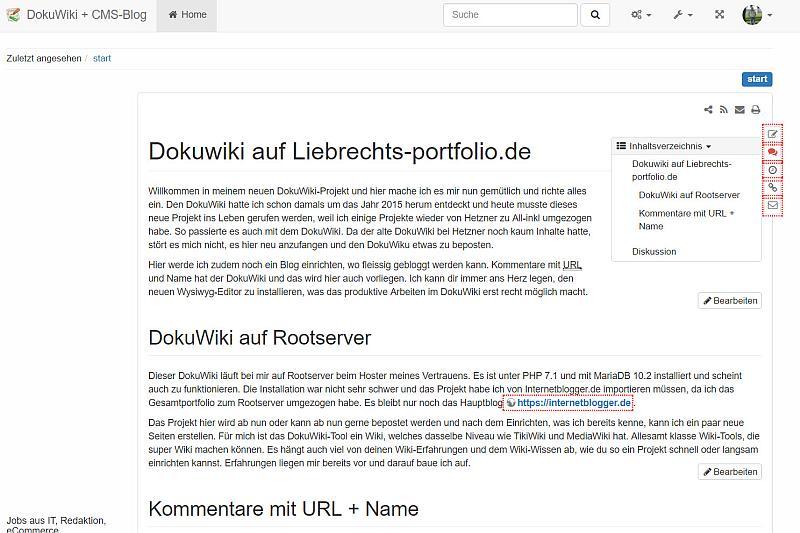 DokuWiki im Frotend via Liebrechts-portfolio.de