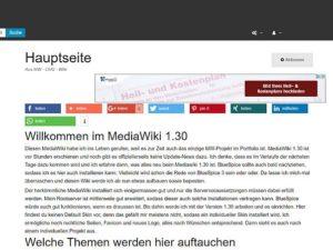 MediaWiki 1.30.0 im Frontend - individueller MediaWiki-Skin