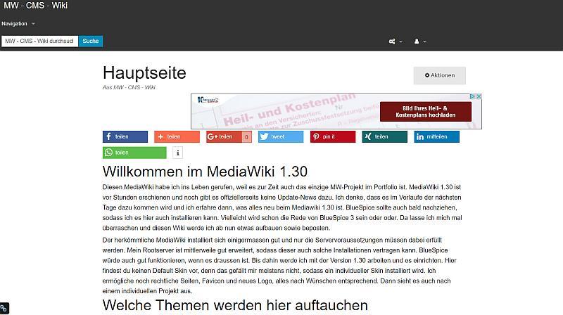 MediaWiki 1.30.0 im Frontend