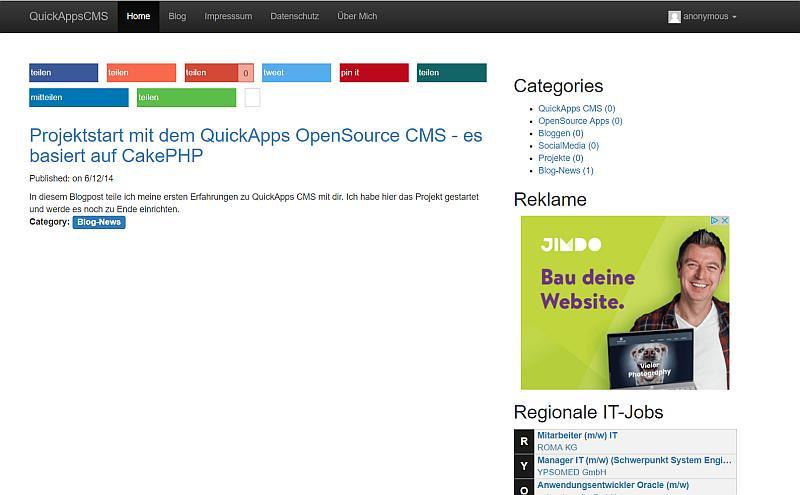 QuickApps Webseite auf Startseite