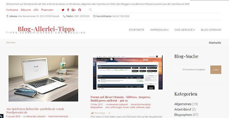 Wordpressler.de auf der Blog-Startseite