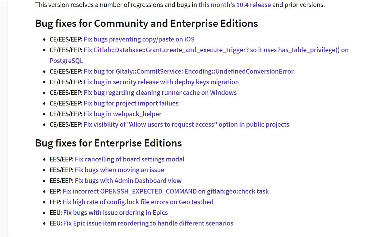 Gitlab Server 10.4.2 Fehlerbehebungsupdate erschienen - Update gelungen