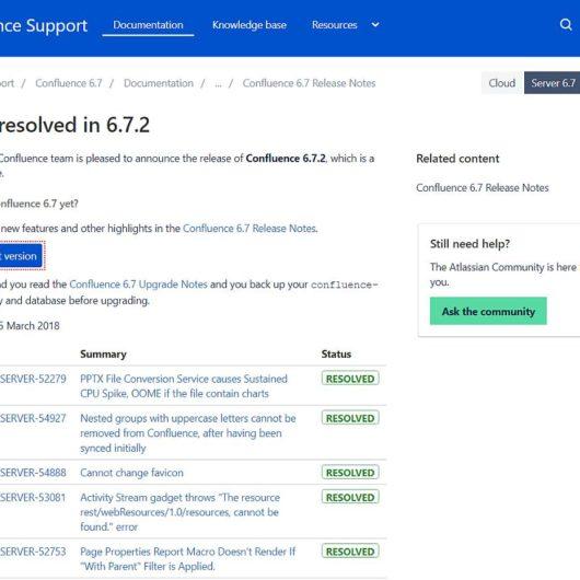 Confluence Server v6.7.2 Fehlerbehebungsupdate erschienen