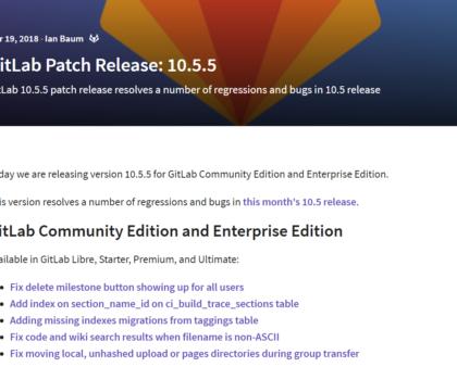 Gitlab 10.5.5 Fehlerbehebungsupdate erschienen