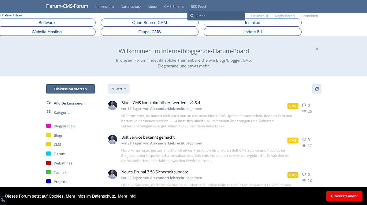 Neue Flarum Forum Erweiterung Cookie Consent Bar Installation