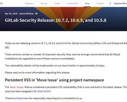 Gitlab Server v10.7.2 Sicherheitsupdate