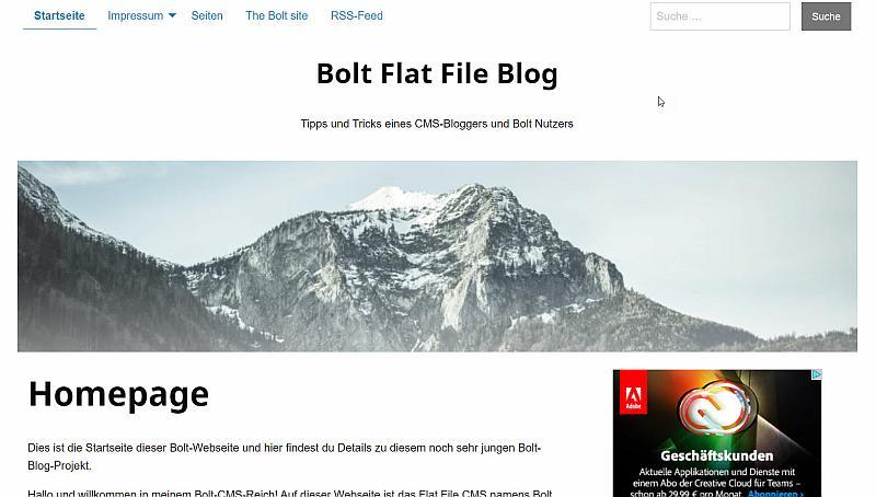 Bolt Webseite im Design Nr. 1