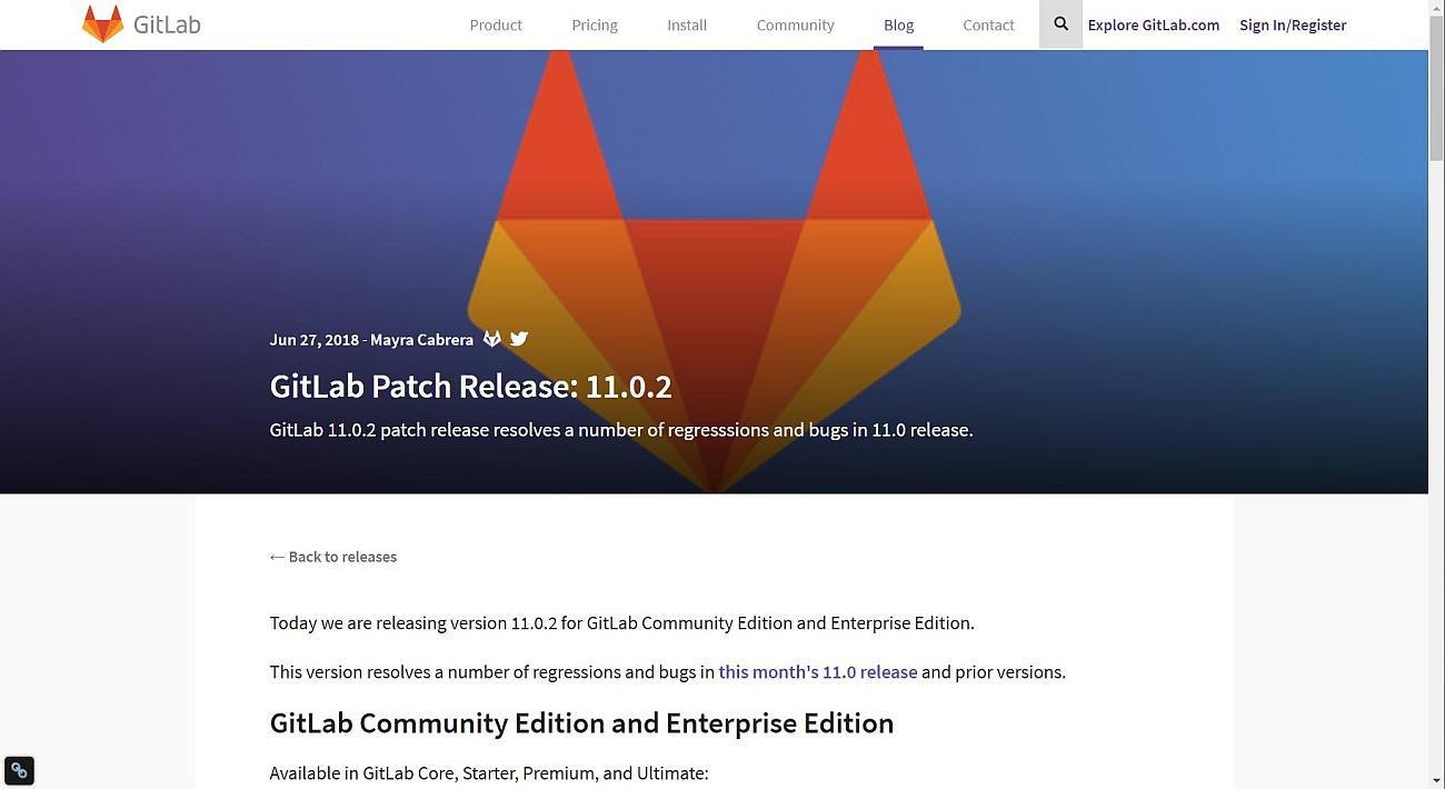 Gitlab Server Fehlerbehebungsupdate v11.0.2 erschienen