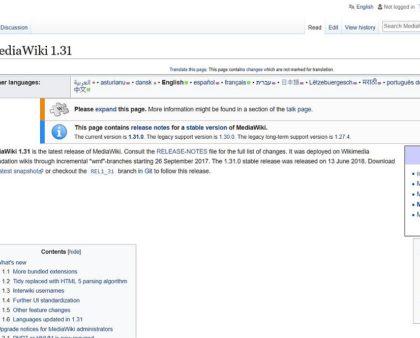 MediaWiki 1.31.0 - Bugfix-Funktionsupdate - hat geklappt