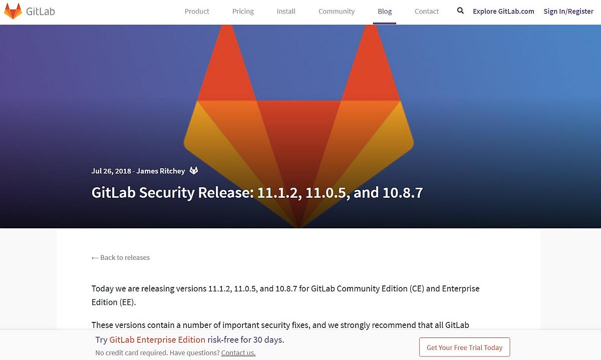 Gitlab v11.1.2 Sicherheitsupdate draussen – du sollst zeitnah aktualisieren