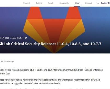 Gitlab Server Sicherheitsupdate v11.0.4 - bitte dringend aktualisieren