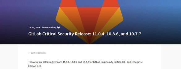 Gitlab Server Sicherheitsupdate v11.0.4 – bitte dringend aktualisieren