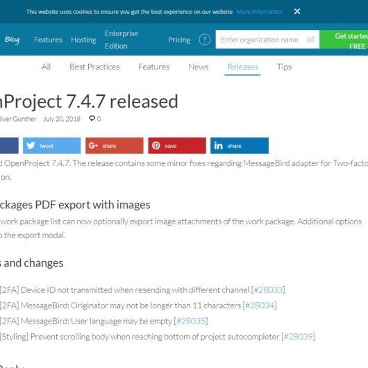 OpenProject v7.4.7 mit Fehlerbehebungen erschienen - Updaten funktioniert gut