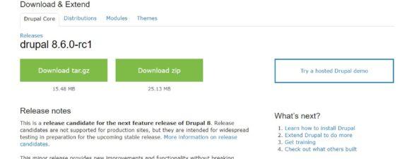 Upgrade auf Drupal 8.6.0 RC1 mit Erfolg gelungen
