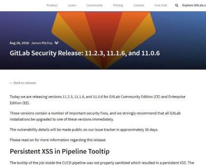 Sicherheitsupdate des Gitlab Servers v11.2.3 erschienen - bitte dringend updaten