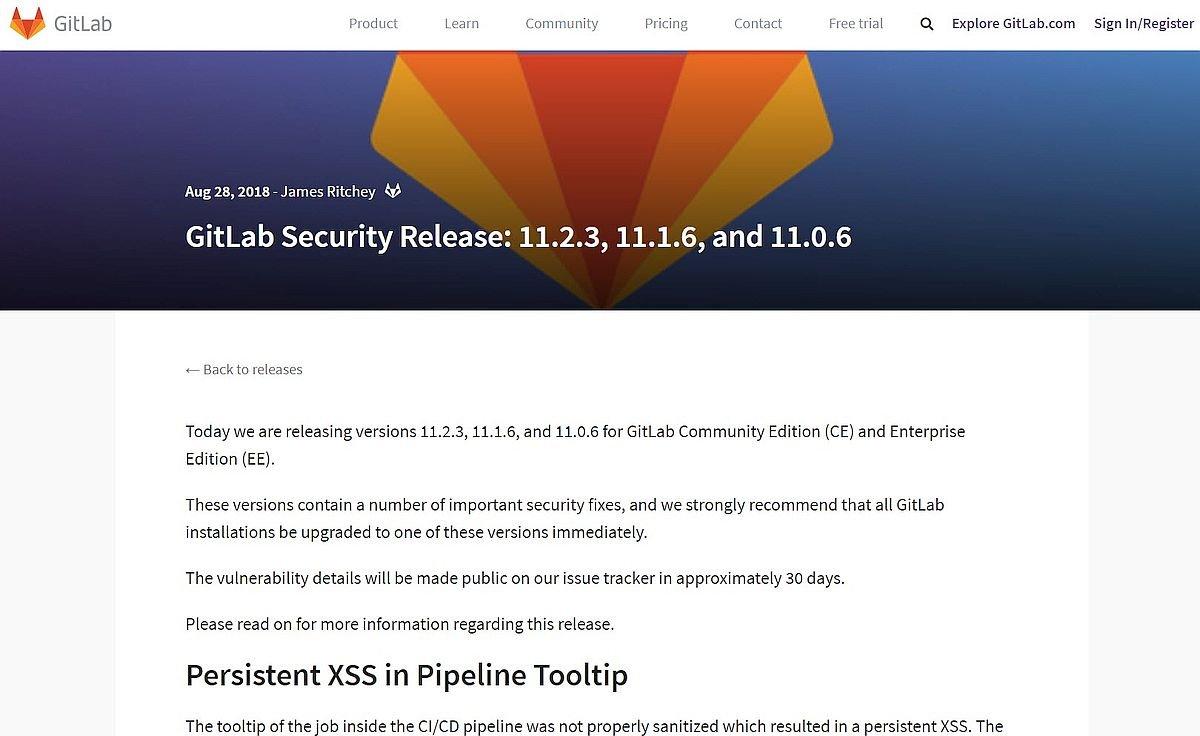 Sicherheitsupdate des Gitlab Servers v11.2.3 erschienen – bitte dringend updaten
