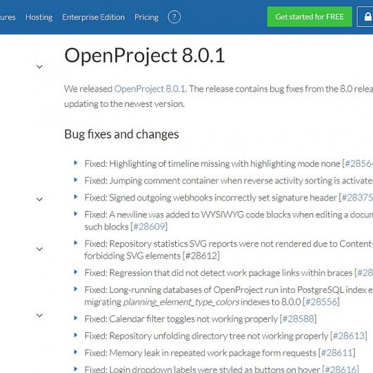 OpenProject App in der Version 8.0.1 erschienen - Updaten lohnt sich