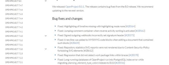 OpenProject App in der Version 8.0.1 erschienen – Updaten lohnt sich