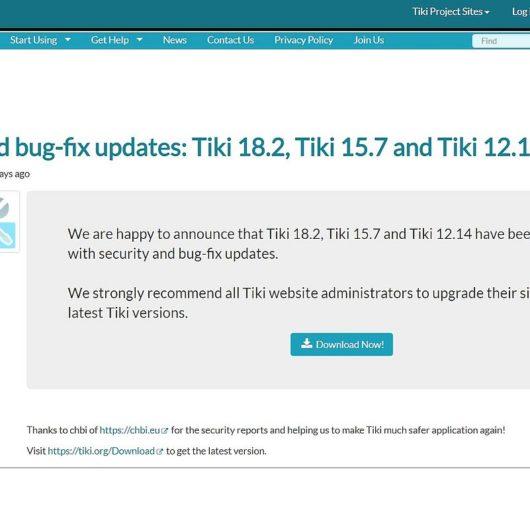 Sicherheitsupdate vom TikiWiki v18.2 ist draussen - Updaten sehr empfehlenswert