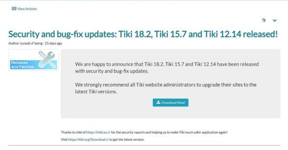 Sicherheitsupdate vom TikiWiki v18.2 ist draussen – Updaten sehr empfehlenswert