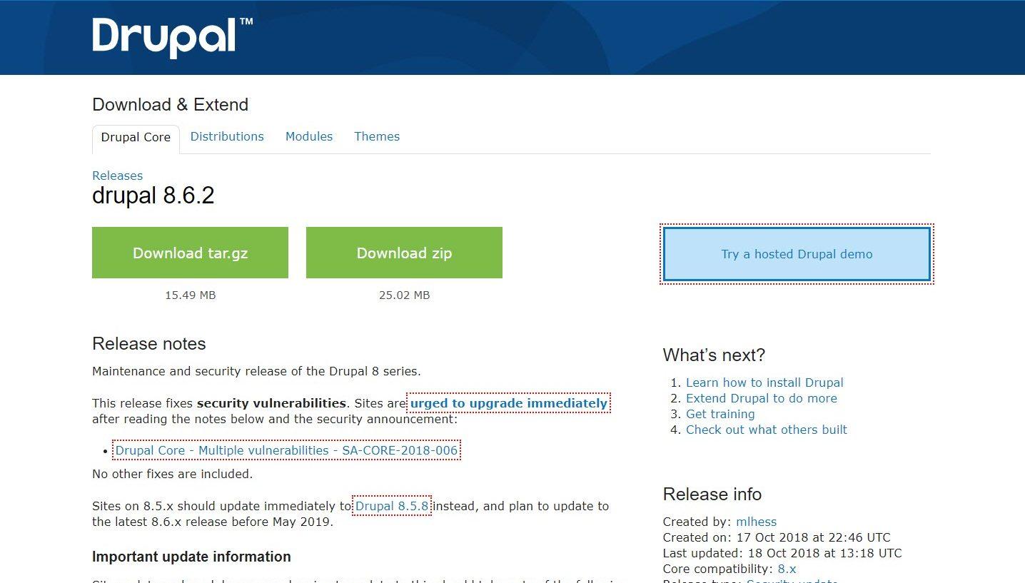 Drupal Sicherheitsupdates: v7.60 und 8.6.2