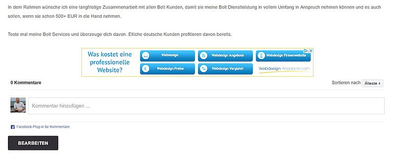 Facebook-Kommentare-Umsetzung in Bolt CMS ab 20 EUR inkl. MwSt.