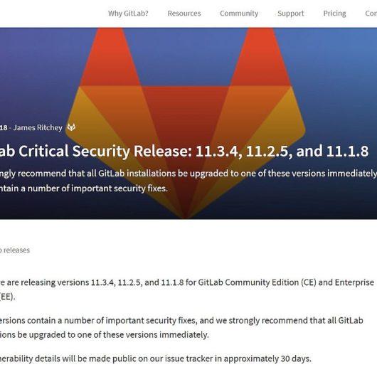 Kritisches Sicherheitsupdate des Gitlab Servers - v11.3.4