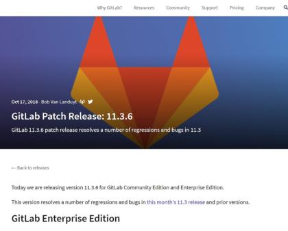 Gitlab Server v11.3.6 mit Fehlerbehebungen erschienen