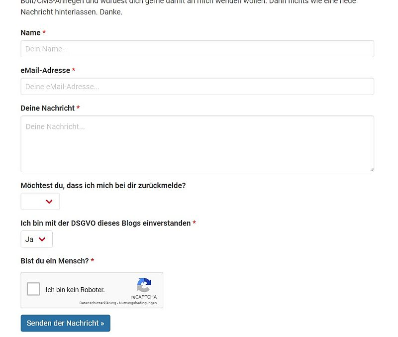 Kontakt-Formular-Erstellung via Bolt CMS ab 20 EUR inkl. MwSt.