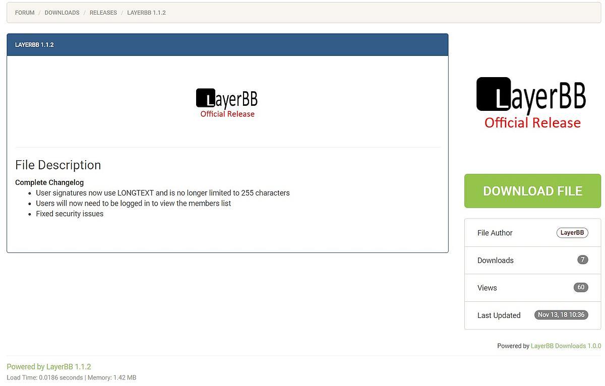 LayerBB Forum v1.1.2 inkl. Sicherheitsupdate draussen