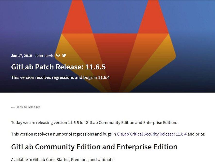 Gitlab Server v11.6.5 - Bugfix-Update erschienen
