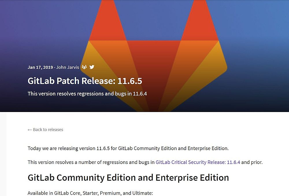 Gitlab Server v11.6.5 – Bugfix-Update erschienen
