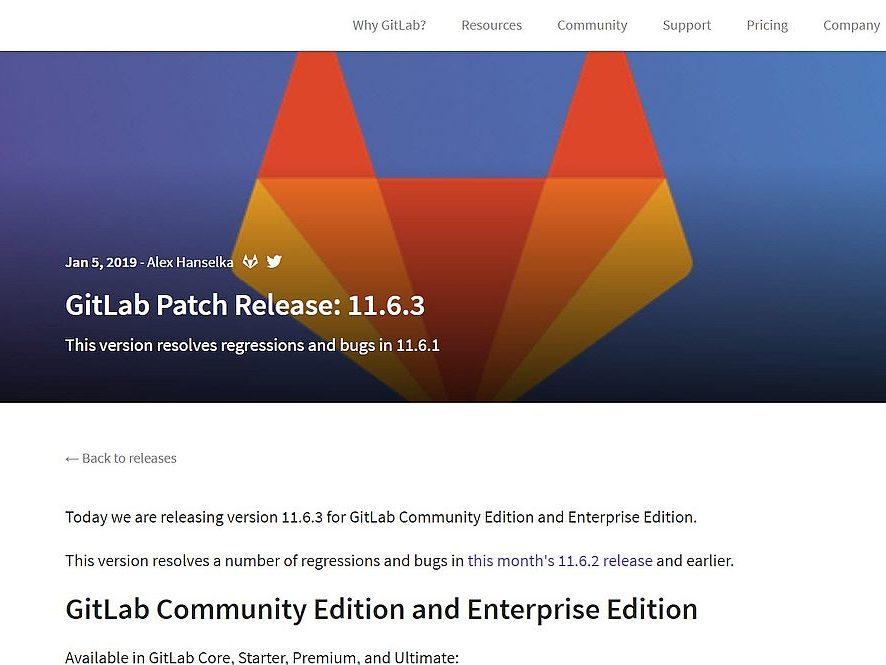 Gitlab v11.6.3 Fehlerbehebungsupdate erschienen
