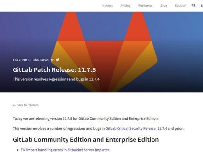 Gitlab Server App Fehlerbehebungsupdate v11.7.5 erschienen