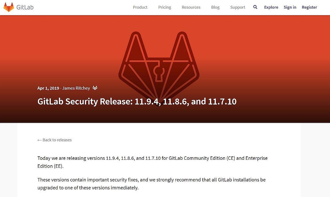 Sicherheitsupdate des Gitlab Servers v11.9.4 erschienen